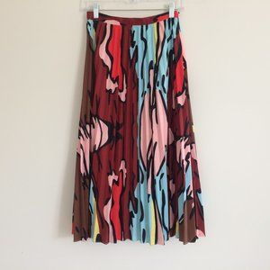 Ina Graphic Print Pleated Midi Skirt Small